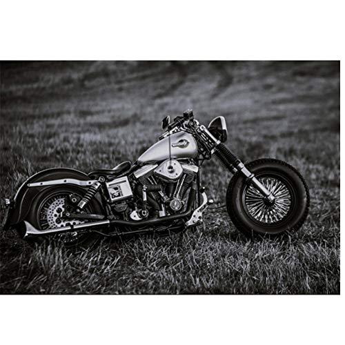 XZRDP Motocicletas de Estilo Retro clásico, Pintura en Lienzo de Bicicleta Fresca, Carteles de Coches, Arte de Pared para Sala de Estar, decoración del hogar, 24x36 Pulgadas con Marco