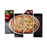 Wocatton Chicken Pizza Wall Art Background Decor Pictures Print On Canvas Art Stretched and Framed Perfect Home Decoration