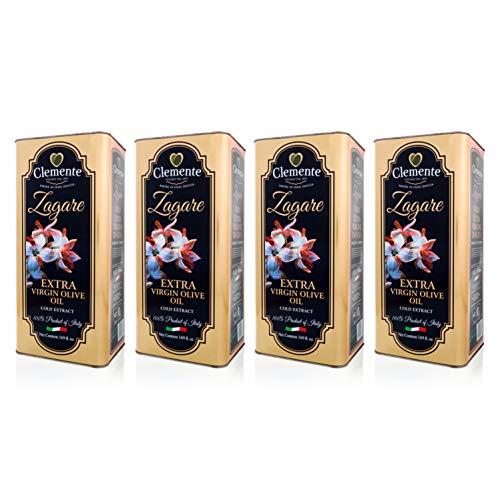 Huile Clemente - Offre Spéciale - 4 Boîtes d'Huile d'Olive Extra Vierge, 100% Italienne, Le Zagare, 5 Litres