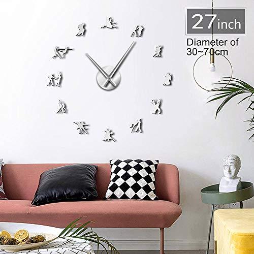 GUDOJK Paar Dans Teken 3D DIY Wandklok Gift voor Danser Mute Klok Horloge Dans Room Decor Zelfklevende Creatieve Show Kit Decoratie