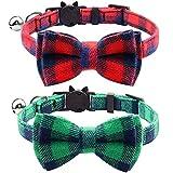 YUIP Personalisierter Katzenhalsband, Katzenhalsband Breakaway mit Sicherheitsverschluss & Krawatte, Einstellbar von 7,8 bis 10,5 Zoll 2er Pack