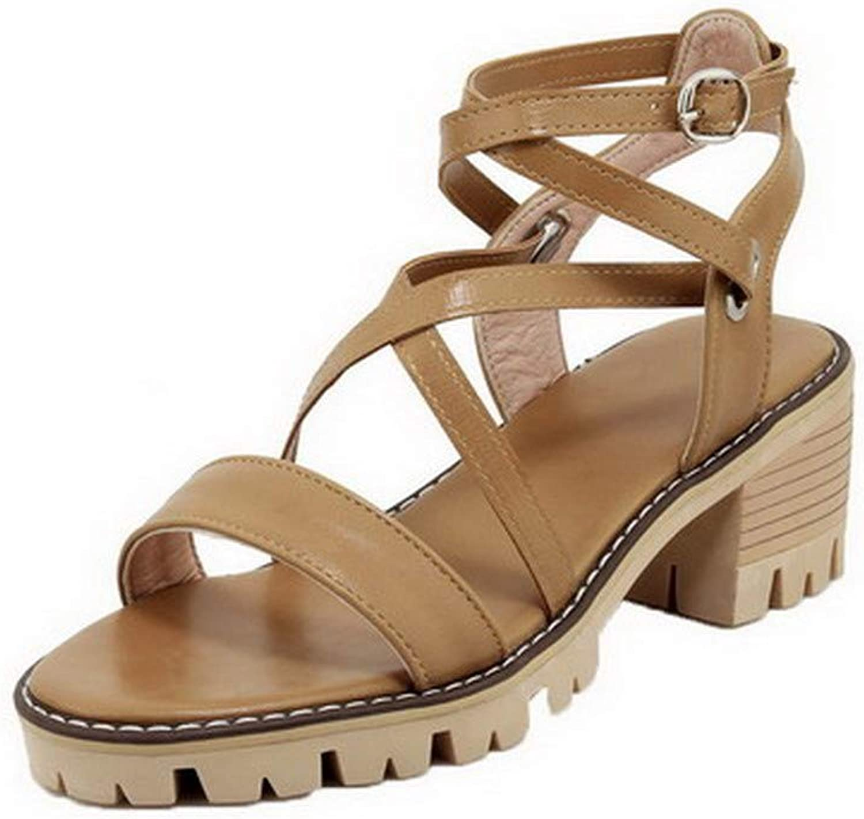 AmoonyFashion Women's Open-Toe Buckle Pu Solid Kitten-Heels Sandals, BUTLT007947