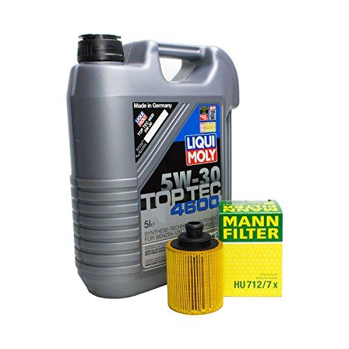 LIQUI MOLY Top Tec 4600 5W-30 3756 + MANN FILTER Ölfilter HU 712/7 x