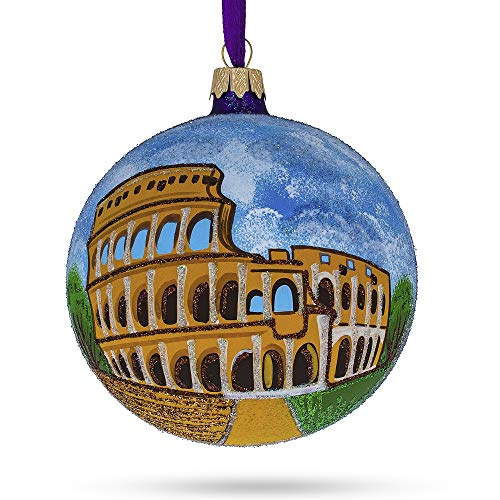 BESTPYSANKY Colosseum, Rome, Italy Glass Ball Christmas Ornament 4 Inches