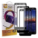 Guran [3 Stück Gehärtetes Glas Bildschirmschutzfolie für Nokia 3.1 (2018) Smartphone Full Coverage HD Schutzfolie Film Kompatibel Panzerglasfolie - Schwarz