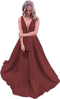 ANGELWARDROBE Women's Satin Formal Evening Dress Long V Neck Princess Skirt Prom Party Ball Gown