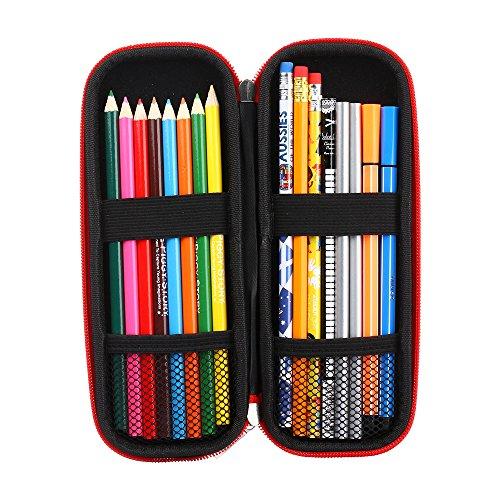iDream365(TM) Pencil Case Holder Bag,Hard Eva Carrying Storage Case/Bag/Pouch/Holder for Pencils,Stylus pens,Ball Pens,Executive Fountain Pens-Black/Red
