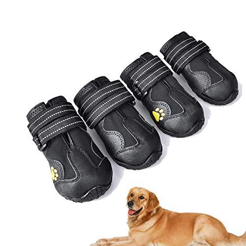 Havenfly 4 pcs Bottes Chien,Chaussures pour Chiens imperméables avec Bretelles réglables réfléchissantes pour Petits Chiens de Taille Moyenne (2)