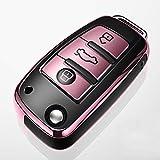 Funda para Llave Plegable de 3 Botones para Coche Audi, Funda de protección Carcasa Suave de TPU para Llaves Audi A8 A6 A3 Q3 Q7 R8 (Rosa, Rosso, BLU, Argento)