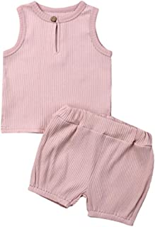 LeCessoriz Two Piece Cotton Ribbed Tank Top and Shorts Baby Outfit