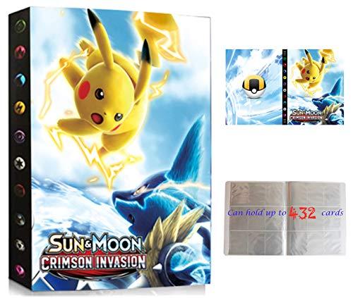 Classeur pour Cartes Pokemon, Porte Cartes Pokemon, Album Cartes Pokemon, Manchons Cartes Titulaire Cartes pour Cartes Pokemon GX EX, 24 pages peut contenir jusqu'à 432 cartes (SD-PIKACHU)