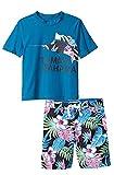 Tommy Bahama Boys' Rashguard and Trunks Swimsuit Set (S/S Black/Tea, 5)