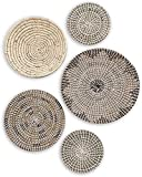 TheNamiCollection Woven Wall Basket Set - Five Hanging Seagrass Baskets   Decorative, Boho Styled Baskets Perfect For Trendy, All Natural Home Decor   Handmade, Round, Woven, Hanging Wall Basket Decor
