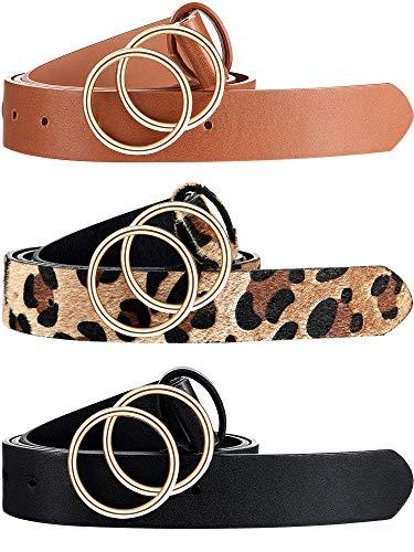 3 Piezas Cinturones de Piel de Leopardo para Mujer Cinturón de Cintura Marrón Oscuro con Hebilla Doble Junta Tórica (39-46 Pulgadas)