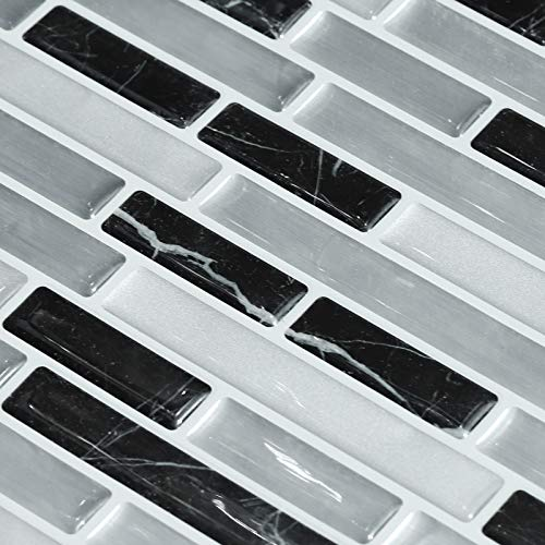 decalmile 10 3D Piezas Azulejos Adhesivos 27,9cm x 23,5cm Negro Plata Mármol Mosaico Pegatinas de Azulejos Autoadhesivo Cocina Baño Decoración