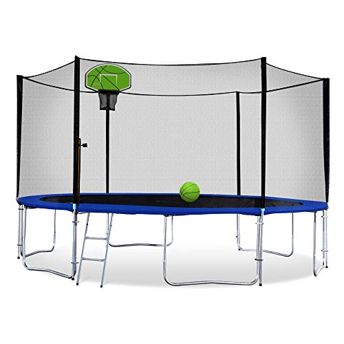 Exacme Outdoor Trampoline with Basketball Hoop and Enclosure Ladder Hight Weight Limit 8 10 12 13 14 15 16 Foot (8 Foot Frame, Shell-Green)