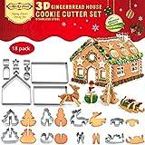 18 kits de decoración de galletas, cortadores de casa de jengibre de acero inoxidable, cortadores de galletas de Navidad 3D, molde de pan de jengibre, molde para fondant, herramienta para hornear