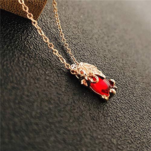 QKL Collar Colgante De Acero De Titanio De Moda para Mujer, Cadena De Clavícula Valiente De Cristal De Rubí Personalizada
