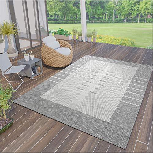 VIMODA Robuster Flachgewebe Teppich In- und Outdoor Tauglich 100% Polypropylen Grau, Maße:140x200 cm