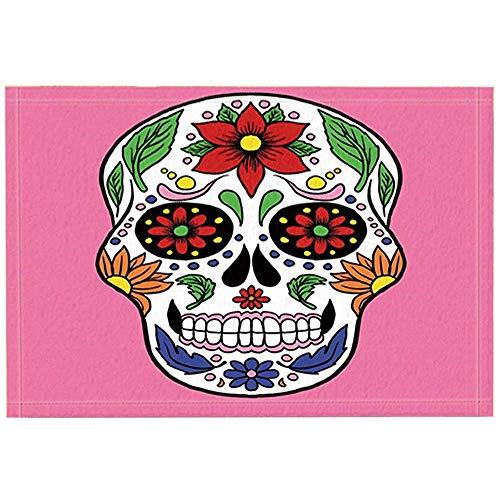 Alfombras de baño con calavera de azúcar Mascota del día de los muertos de México Calavera pintada a mano Tapete antideslizante Entradas Alfombrilla de baño para niños 40 * 60 cm Accesorios de baño