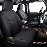 Coverado Wrangler Seat Covers, Waterproof Leather Seat Protectors Custom Fit Full Set, Compatible with 2007-2017 Jeep Wrangler JK JL 4DR, Fit for Sahara Sport X Rubicon(Full Set, Black)