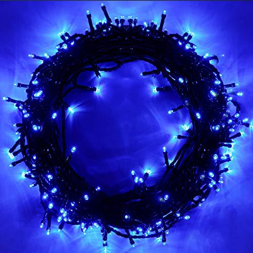 EPESL luci natalizie 25m 220 leds con 8 modalità di memoria end to end estensibile catene luminose esterni ed interni decorazione per giorno di natale alberi casa Halloween festa giardino-Blu