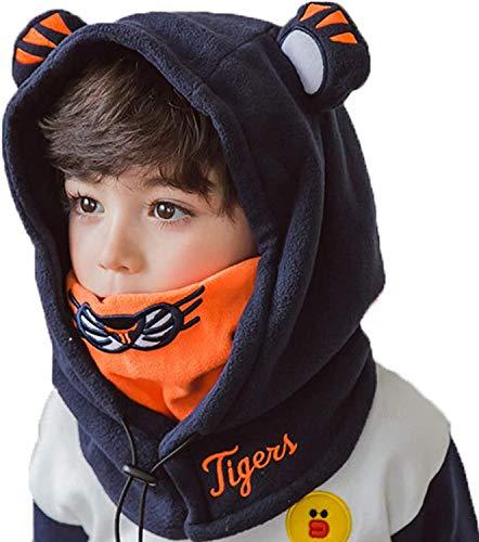 Tyidalin Kinder Sturmhaube Winter Schalmütze Mädchen Jungen Fleece Warm Hüte Kapuzenschal Skimaske Blau A 4-12 Jahre