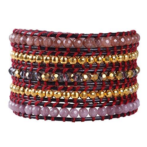 KELITCH Leder Strang Armbänder Frau Männer Personalisiert Farbe Achat Stein 5 Wickelt Armband Perle Armreif Handgefertigt Mode Zubehör