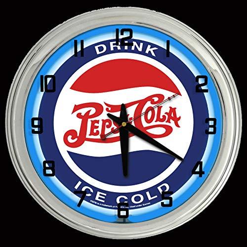 ELG Companies LLC 16' Pepsi Cola Drink Ice Cold Pepsi Sign Blue Neon Clock
