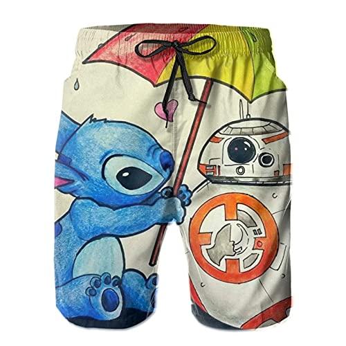 Hkdfjg Stitch Baby Yoda Star The Wars Herren Shorts Badehose Casual Surf Beach Pants Board Sommer Urlaub Gym Jogging Walking Running Gr. XXL/3XL, weiß