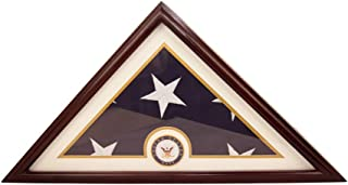 DECOMIL - Flag Display Small Case Box, 5x9 Burial - Funeral - Veteran Flag Elegant Display Case with Flat Base, Solid Wood, Cherry Finish