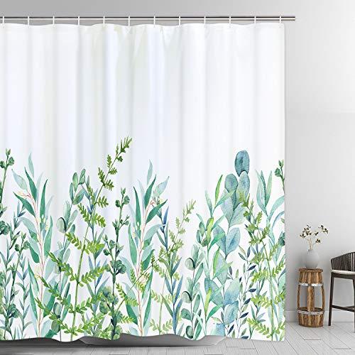 Alishomtll Duschvorhang mit 12 Haken Blätter Badevorhang Waschbar Textil Antischimmel Kinder Badewanne Digitaldruck, 180x200 cm Weiß Grün