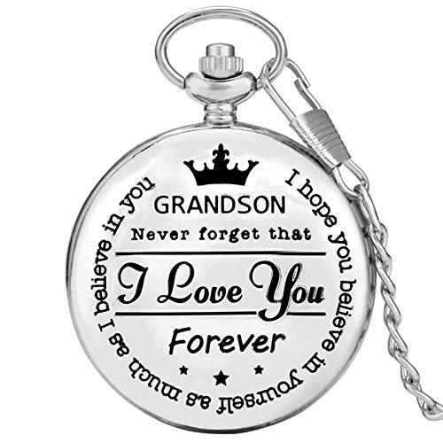 I Love You, Reloj de Bolsillo Plateado Personalizado, Reloj de Bolsillo con Colgante de Cuarzo, colección de Recuerdos Vintage, Regalos de cumpleaños, Plata