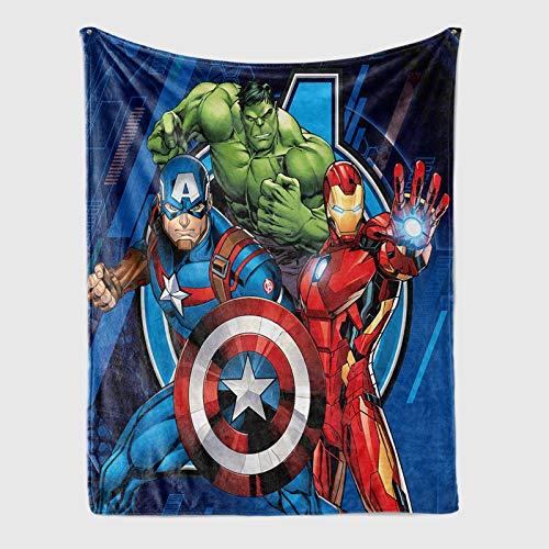 YZDM - Manta polar para niños, diseño de Los Vengadores, Hulk, Spiderman, Thor, Iron Man de microfibra, para la casa, unisex, sofá cama, sofá o sala de estar, 100 x 140 cm