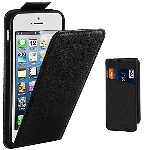 Supad Étui de Protection à Rabat en Cuir synthétique pour Apple iPhone SE/5S/5 Noir