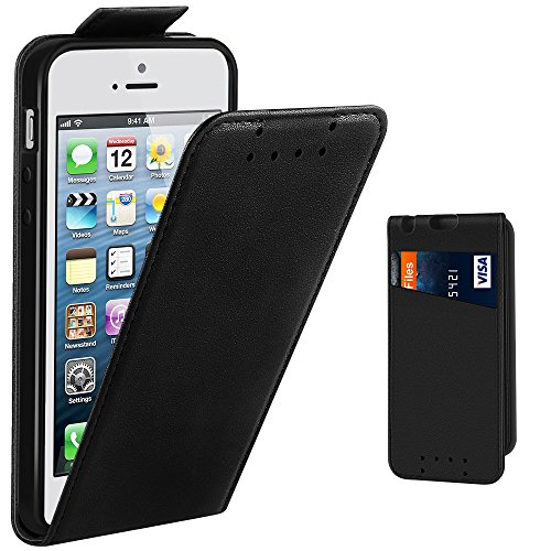 iPhone SE Case, Supad Leather Flip Wallet Slim Case Cover for Apple iPhone SE 5S 5 (Black)