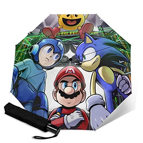 Super Smash Bros Mario Sonic Mega Man Paraguas plegable automático abierto cierre ligero compacto portátil Sun Travel Tri-fold paraguas unisex