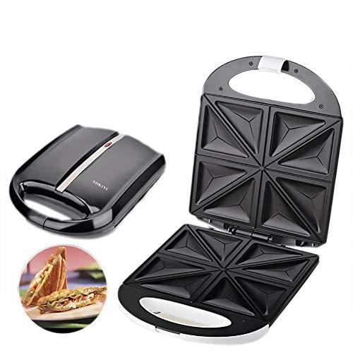 4 Sandwicheras, Máquina De Desayuno, Pan Tostado Casero De Doble Cara, Máquina Para Hacer Gofres Multifunción,Triangleplate
