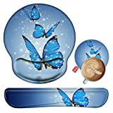 Keyboard Wrist Rest and Mouse Pad Wrist Support Set with Coaster, Ergonomic Gaming Mouse Pad Keyboard Wrist Cushion with Memory Foam & Non Slip Base for Computer Laptop Office- Blue Butterfly
