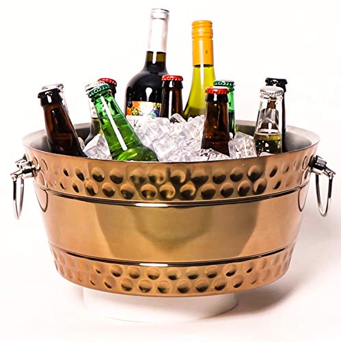 BREKX Hammered Copper Stainless-Steel Beverage Tub, Double-Walled Insulated Anchored Bolt Drink Tub & Ice Bucket with Double Hinged Handles, Drink Chiller for Parties, 12 Quarts