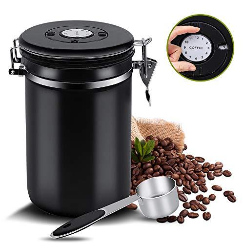 Kaffeedose Luftdicht,Kaffeebehälter,Kaffeedose Edelstahl Aromadose Vorratsdose,kaffeebohnenbehälter vakuum kaffeedose mit löffel,für Kaffeebohnen oder Kaffeepulver,Tee,Nüsse,Kakao 1.5Liter,Schwarz