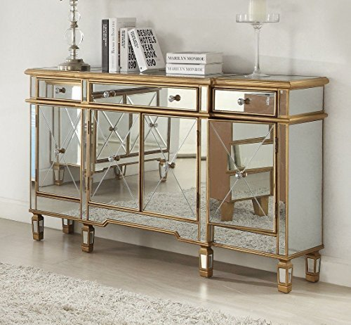 "60"" Euro Mirrored reflection Andrea hall console Gold Trim cabinet DH-427-304"