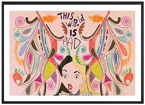 XMYC Cuadros de Pared Impresin de Arte Abstracto Alicia en el pas de Las Maravillas Pster e Imagen Decoracin de habitacin de nia Moderna 40x60cm sin Marco