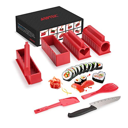 Sushi Making Kit, AGPTEK 11pcs DIY Sushi Making Set for Beginners , Complete Plastic Sushi Maker Tool with 4 Sushi Rice Roll Mold Shapes, Sashimi Knife for Kitchen DIY, Red