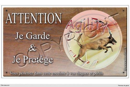 Panneau chien ou plaque Agility-Malinois-01 20 cm