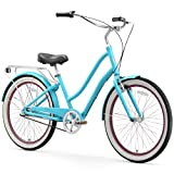 sixthreezero EVRYjourney Women's Single Speed Step-Through Hybrid Cruiser Bicycle, 26' Wheels and 17.5' Frame, Teal with Black Seat and Grips