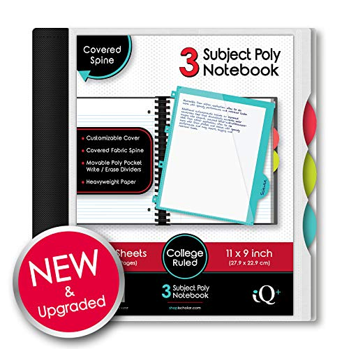 ischolar IQ Poly Cover Double Wire Notebook 3-Subject (11 x 8.5 Inch) Red, Gray, Black, Blue