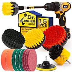* * ✔ Best Drill Cleaning Attachment Set(Brush&Scouring Pads&Scrub Sponge), Includes: 5 shape of Medium drill power scrubber brushes, 6 Piece different stiffnesses Scouring pads,2 Piece scrub sponge and 4 inch backer. * * ✔ 5 shape of brushes clean y...