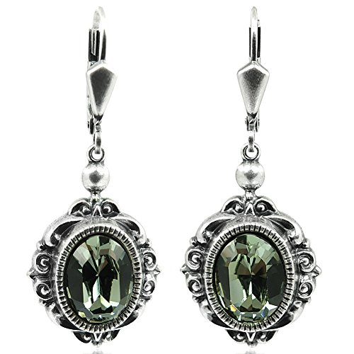 Vintage Ohrringe mit Kristallen von Swarovski® Grau Silber NOBEL SCHMUCK