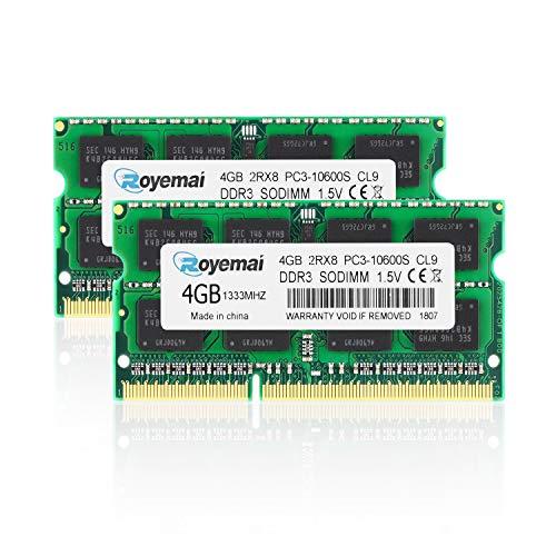 DUOMEIQI PC3-10600 8GB(2x4GB) DDR3 1333Mhz Sodimm 2Rx8 1,5V CL9 Non-ECC Notebook Arbeitsspeicher Module Upgrade für MacBook iMac